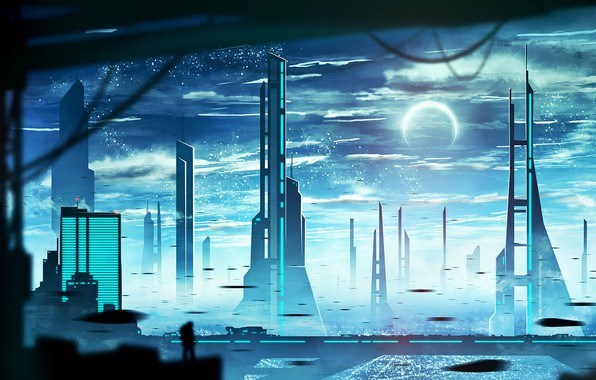 Картинка город, луна, человек, силуэт, by kvacm