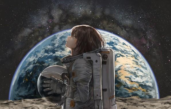 Картинка космос, аниме, скафандр, профиль