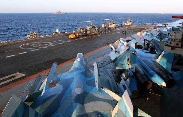 Картинка море, истребитель, крейсер, Тяжёлый, Су-33, Ка-29, авианесущий, Адмирал Кузнецов