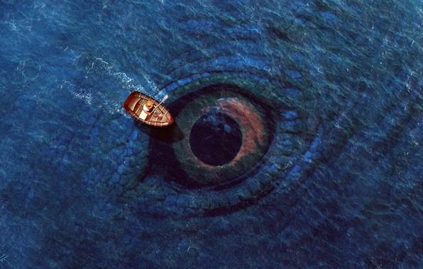 Картинка waves, fantasy, sea, hat, man, eye, digital art, artwork, boat, situation, fantasy art, Creature