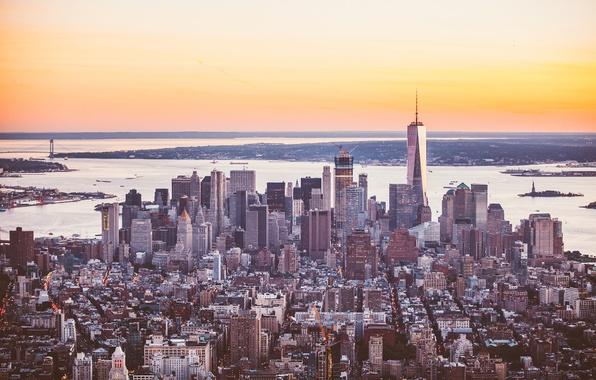Фото обои город, панорама, здание, небоскребы, мегаполис, New York