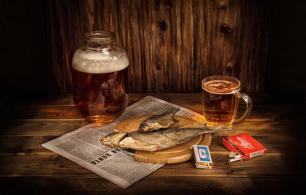 Картинка бокал, пиво, спички, рыба, кружка, газета, банка, натюрморт, сигареты, балык, вобла, Прима