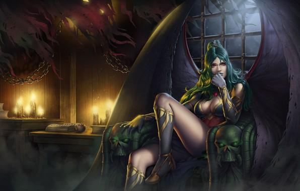 Картинка грудь, девушка, свет, ночь, луна, ноги, крылья, свечи, арт, вампир, Evelyn