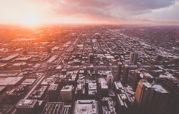 Картинка город, Чикаго, панорама, USA, США, Америка, United States, Chicago, вид сверху, с высоты, Skydeck Chicago