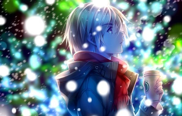 Картинка зима, ночь, куртка, профиль, парень, стаканчик, art, блондин, первый снег, смотрит вверх, Tidsean, красный шарф