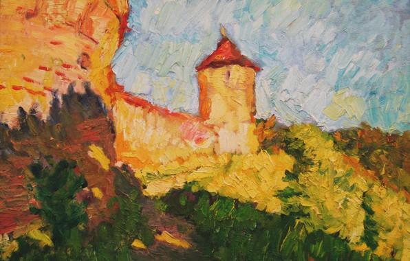 Картинка башня, 2006, крепость, Пейзаж, тропинка, Петяев