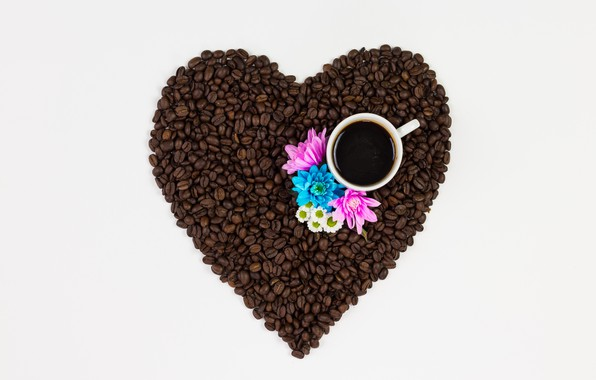 Картинка любовь, цветы, сердце, кофе, зерна, love, heart, pink, flowers, cup, romantic, beans, coffee