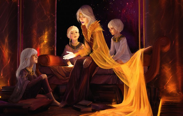 Картинка дети, книги, вечер, арт, мама, Illustrator, Storyteller, сказказ, Alexandra Hodgson