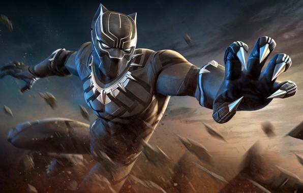 Картинка чёрный, маска, арт, костюм, когти, супергерой, Marvel, комикс, Black Panther, Чёрная Пантера
