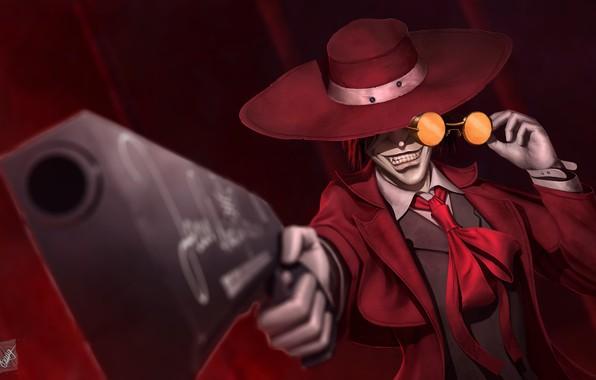 Картинка пистолет, шляпа, аниме, арт, очки, вампир, Hellsing, Alucard