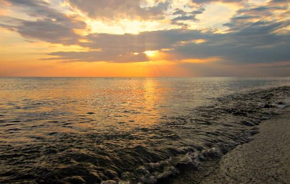 Картинка Закат, Солнце, Облака, Море, Пляж, Россия, Чёрное море