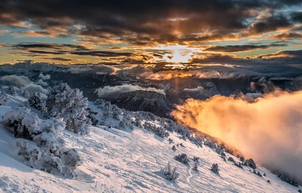 Картинка зима, небо, горы