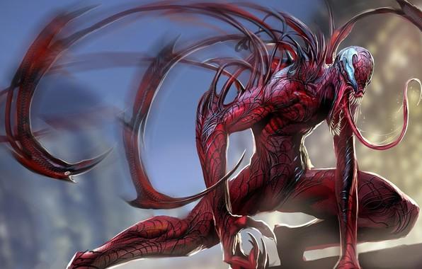 Картинка монстр, пасть, клыки, Ryan Reynolds, мутант, Deadpool, комикс, слизь, трансформация, длинный язык, жуть