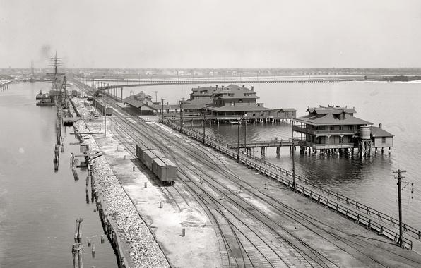 Картинка ретро, корабль, поезд, пирс, США, 1900-й год