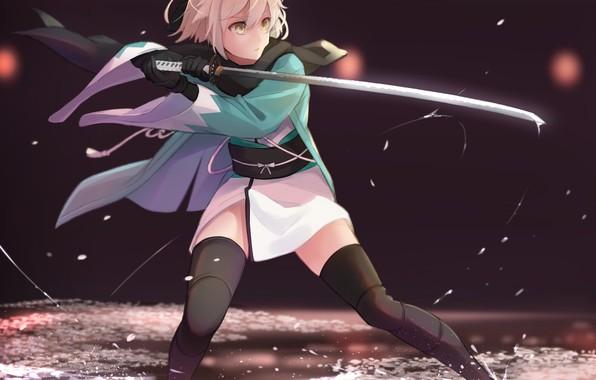 Картинка girl, sword, game, anime, katana, ken, blade, blonde, warrior, manga, japanese, kimono, bishojo, Fate Grand …