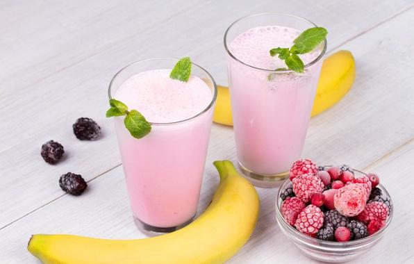 Картинка ягоды, малина, напиток, банан, смузи