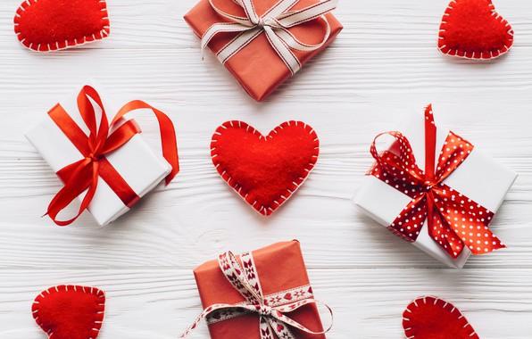 Картинка праздник, подарки, сердечки, hearts, декор, День Святого Валентина, gift, boxes, composition