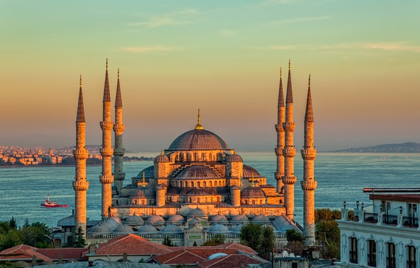 Картинка пейзаж, закат, пролив, башни, храм, Стамбул, Турция, дворец, Голубая мечеть, Султанахмет