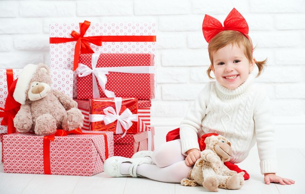 Картинка радость, праздник, новый год, девочка, подарки, бант, коробки