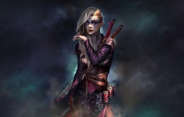 Картинка Девушка, Взгляд, Оружие