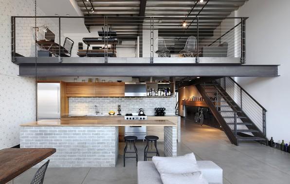 Картинка стиль, интерьер, кухня, столовая, жилое пространство, лофт, Industrial Loft