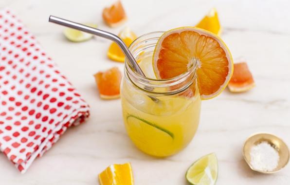 Картинка апельсин, коктейль, лайм, трубочка, цитрус, напиток, грейпфрут, салфетка