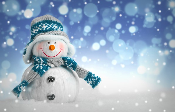 Картинка зима, снег, Новый Год, Рождество, снеговик, Christmas, winter, snow, Merry Christmas, Xmas, snowman, decoration