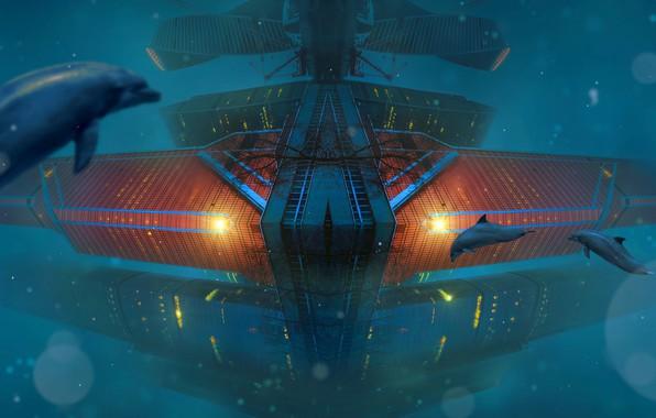 Картинка море, вода, свет, синий, рендеринг, фон, фантастика, океан, голубой, лодка, фары, корабль, глубина, станция, техника, …
