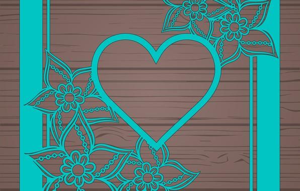 Картинка цветы, абстракция, текстура, abstract, сердечко, wood, floral
