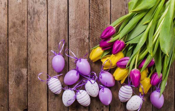 Картинка цветы, тюльпаны, tulips, декор, eggs, easter, table