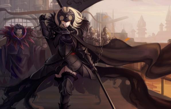 Картинка девушка, оружие, аниме, воин, цепь, fate, fate/grand order, jeanne d'arc, fate/apocrypha, jeanne alter