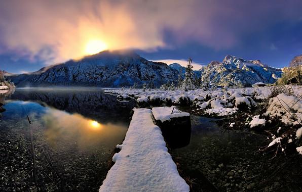 Фото обои зима, снег, река, природа