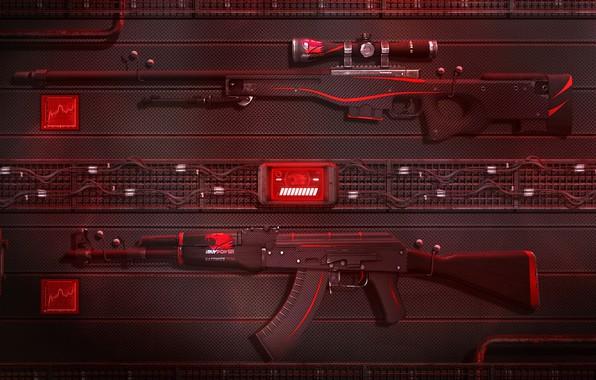 Картинка Art, AK-47, Game, Weapons, Sci-Fi, CS:GO, AWP, Redline, Counter Strike:Global Offensive, ibuypower