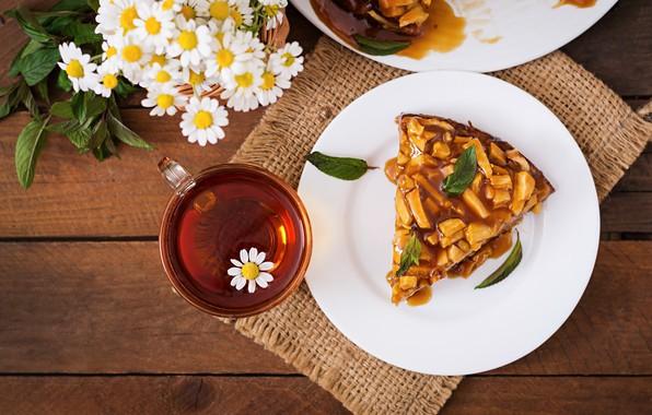Картинка цветы, чай, ромашки, Пирог