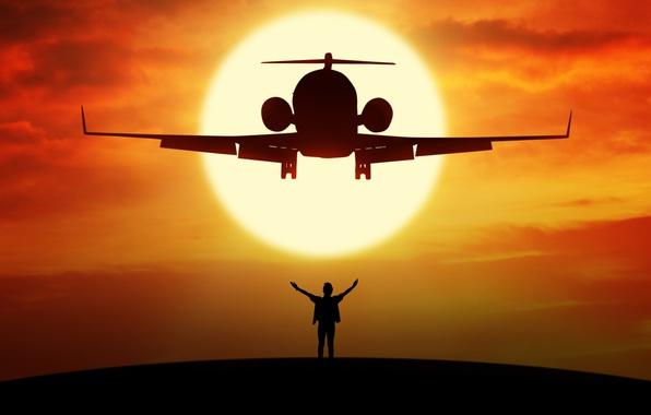 Картинка полет, самолет, высота, силуэт, airplane, боке, пассажирский, турбореактивный, wallpaper., beautiful background, солнце небо рассвет, планета ...