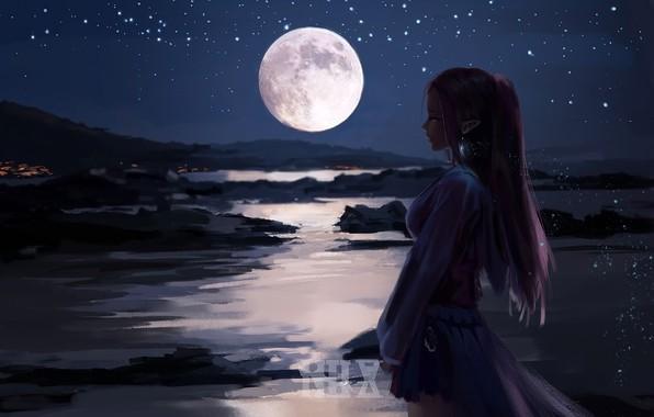 Картинка девушка, ночь, луна