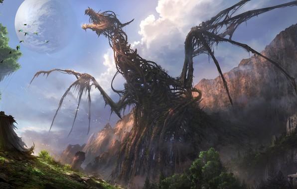Картинка moon, fantasy, forest, Dragon, sky, trees, landscape, nature, mountains, rocks, birds, castle, digital art, artwork, …