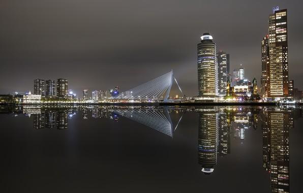 Картинка ночь, город, rotterdam