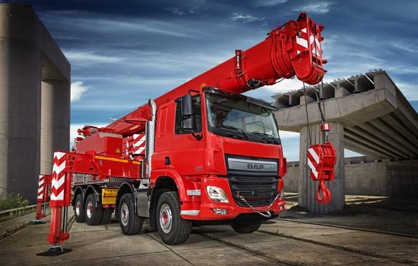 Картинка красный, конструкции, DAF, ДАФ, 8x4, упоры, бортовая платформа, Euro6, DAF CF 440 FAD, автокран