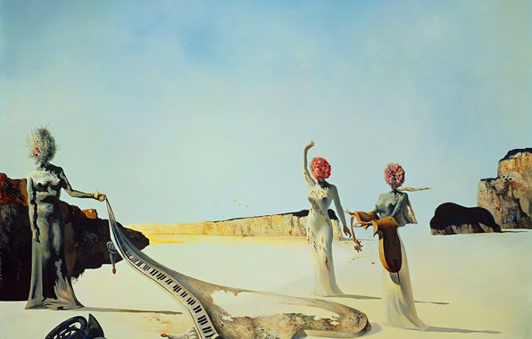 Фото обои картина, Сальвадор Дали, Salvador Dali, сюрреализм, Три Молодых Сюрреалистических Женщины