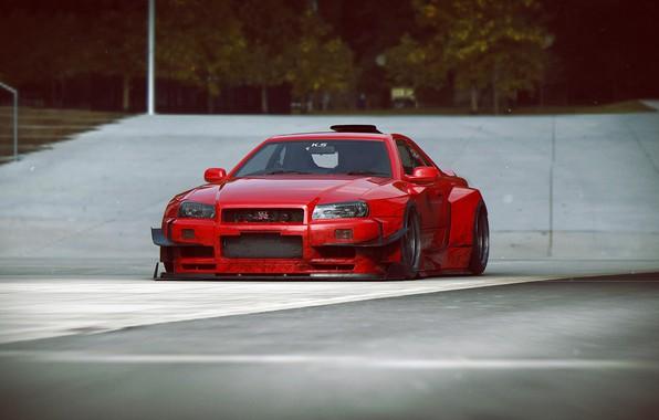 Фото обои дизайн, автомобиль, scifi, V12 R34-GTR, red-dirty