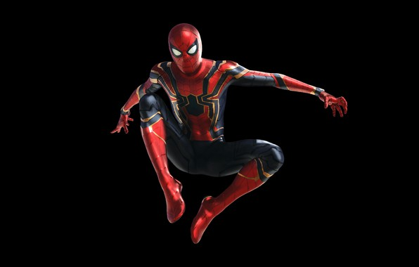 Картинка фантастика, костюм, черный фон, комикс, MARVEL, Peter Parker, Spider Man, Avengers: Infinity War, Человек - …
