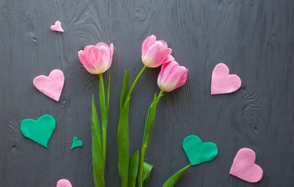 Картинка цветы, букет, сердечки, тюльпаны, love, розовые, wood, pink, flowers, romantic, hearts, tulips, spring