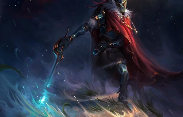 Картинка space, sword, fantasy, armor, Warrior, stars, cosmos, digital art, artwork, mask, fantasy art, cape, mantle, ...