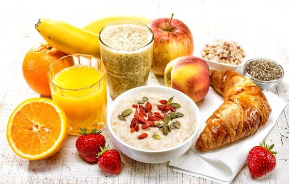 Картинка завтрак, клубника, сок, фрукты, круассан, овсянка