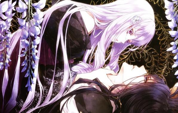 Картинка слезы, кимоно, двое, длинные волосы, art, visual novel, глициния, hubert, reine des fleurs, kagerou usuba, …