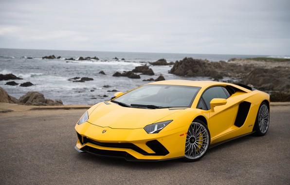 Картинка побережье, Lamborghini, суперкар, Aventador S