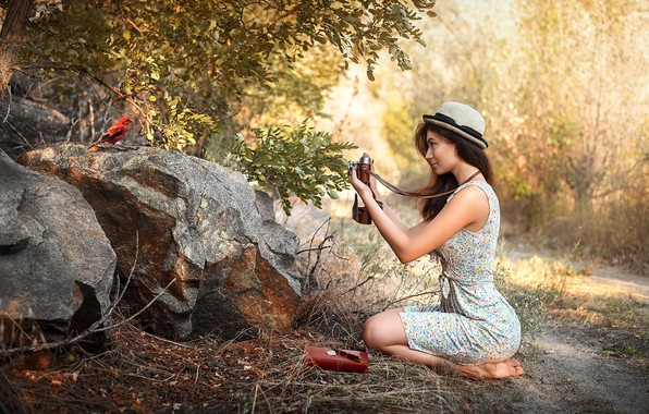 Картинка девушка, природа, птица, Maks Kuzin, юный фотограф