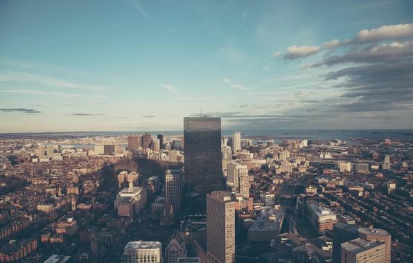 Картинка небо, облака, город, здания, дома, небоскребы, Бостон, Boston