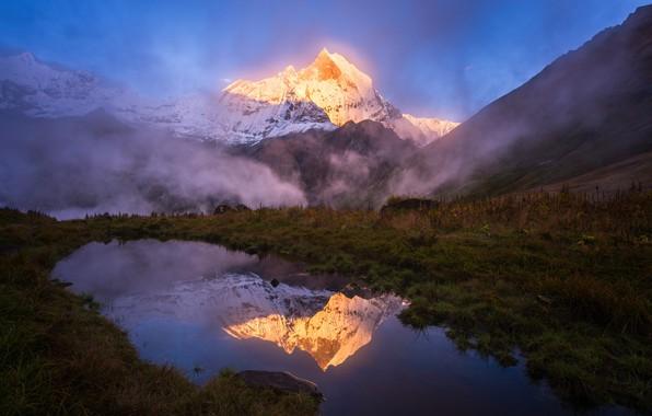 Картинка вода, свет, горы, природа, озеро, отражение, гора, вершина, Гималаи